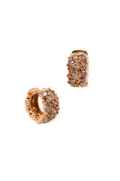 Paul Morelli - 18K Pink Gold Cognac Diamond Hoops