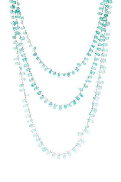 Sylva & Cie - 14K Yellow Gold Briolette Emerald Necklace