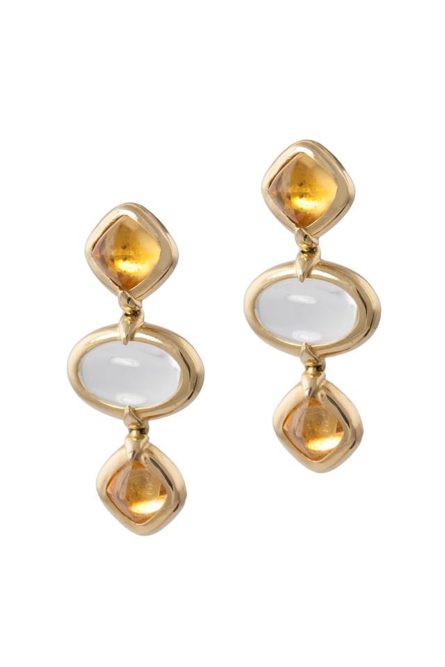 Gold Crystal Sugarloaf Citrine Three Drop Earrings