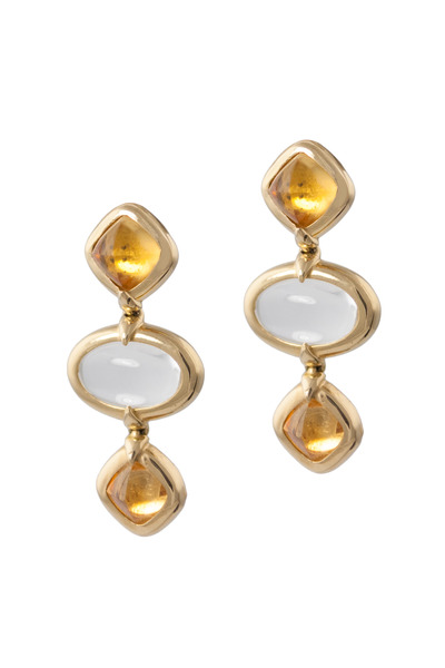 Monica Rich Kosann - Gold Crystal Sugarloaf Citrine Three Drop Earrings