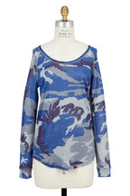 Majestic - Blue Metallic Camo-Print Linen T-Shirt