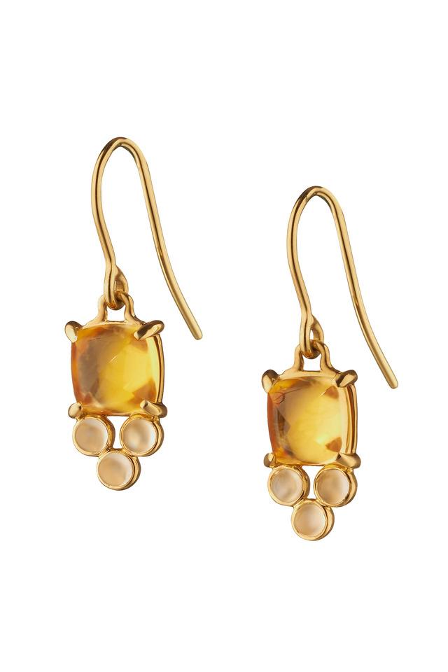 Gold Sugarloaf Citrine & Moonstone Drop Earrings