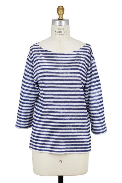 Majestic - Navy Blue Striped Linen Boatneck T-Shirt