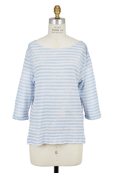 Majestic - Light Blue Striped Linen Boatneck T-Shirt
