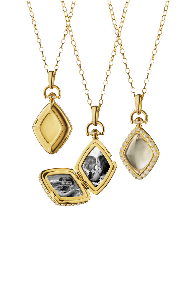18K Yellow Gold Diamond Locket Necklace