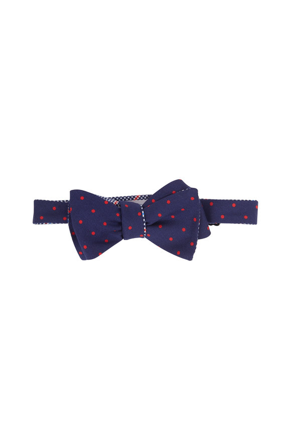 Butterfly Bowtie Navy Blue & Red Plaid Silk Reversible Bow Tie