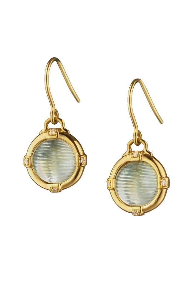 Gold Prasiolite Cats-Eye Drop Earrings