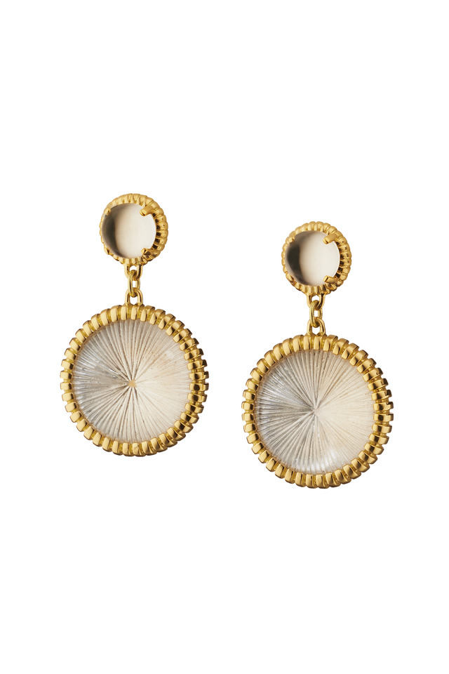 Yellow Gold Rock Crystal Starburst Drop Earrings