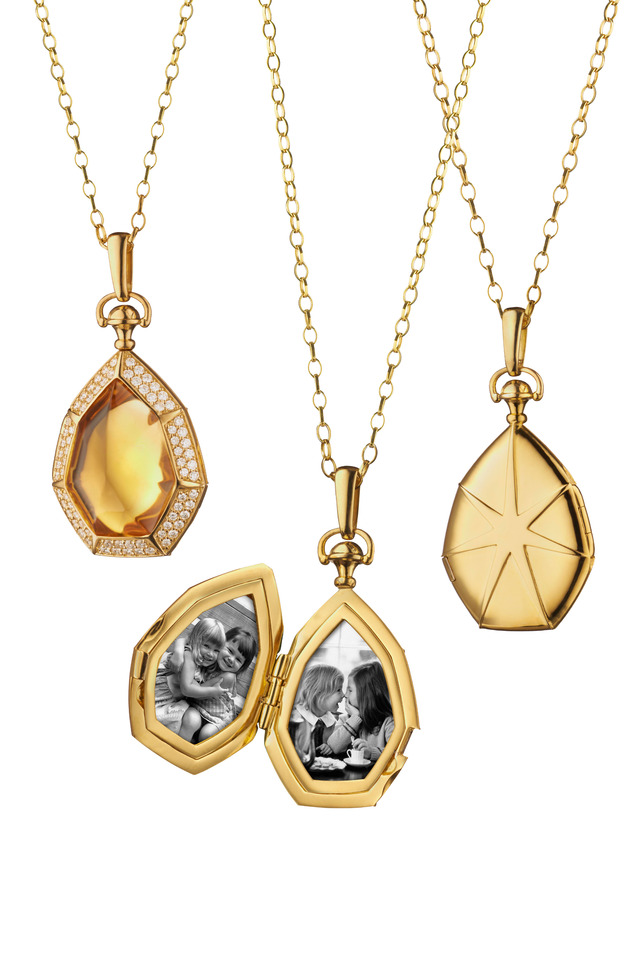 Gold Sugarloaf Citrine Diamond Locket Necklace