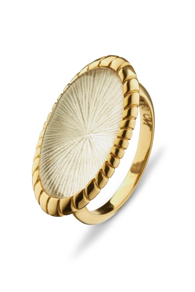 Gold Rock Crystal Starburst Ring