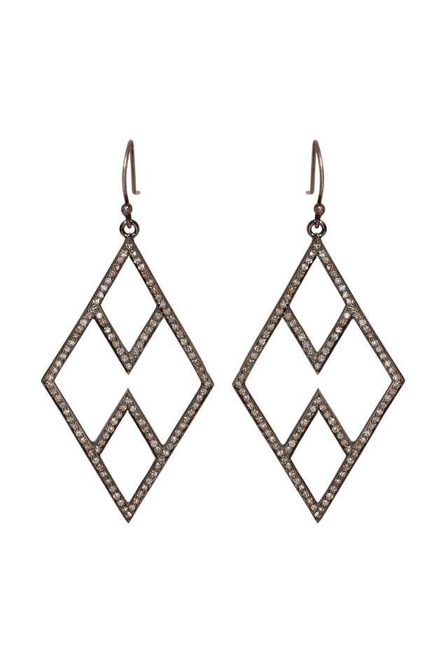 Silver Pave Diamond Open Chevron Earrings