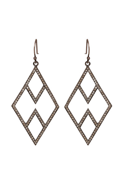 Zoe Chicco - Silver Pave Diamond Open Chevron Earrings