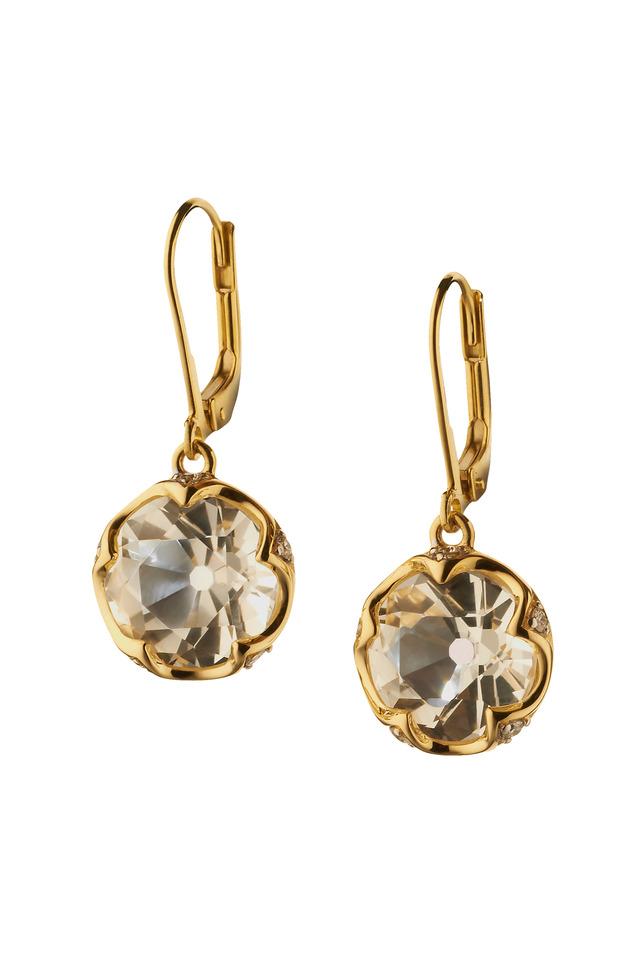 Yellow Gold Rock Crystal Diamond Dangle Earrings