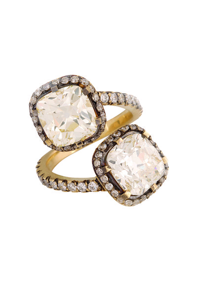Sylva & Cie - Gold Double Cushion-Cut Diamond Cocktail Ring