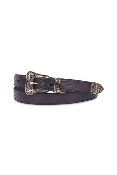 Saint Laurent - Black Leather & Vintage Nickel Western Belt