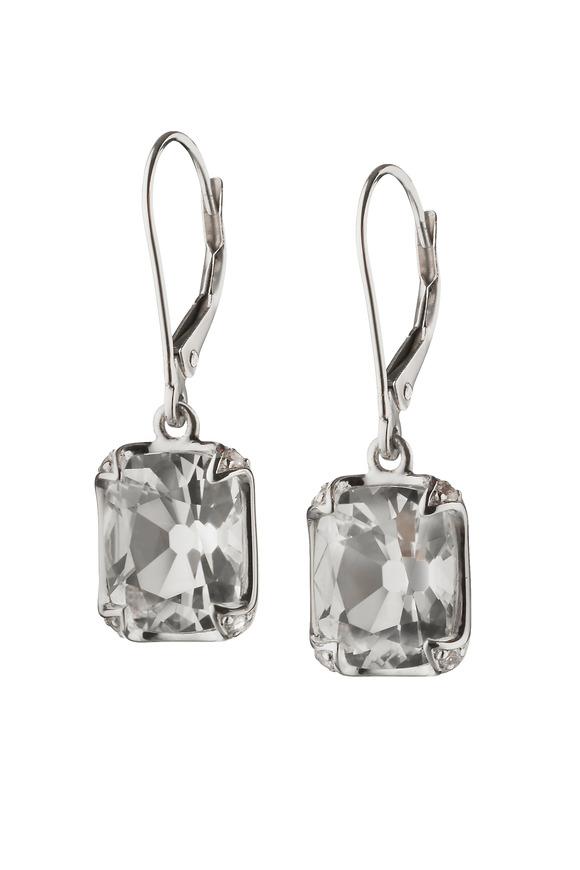 Monica Rich Kosann Sterling Silver Crystal & Sapphire Dangle Earrings