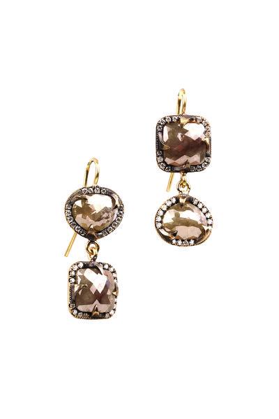 Sylva & Cie - Brown Rough  Double Diamond Drop