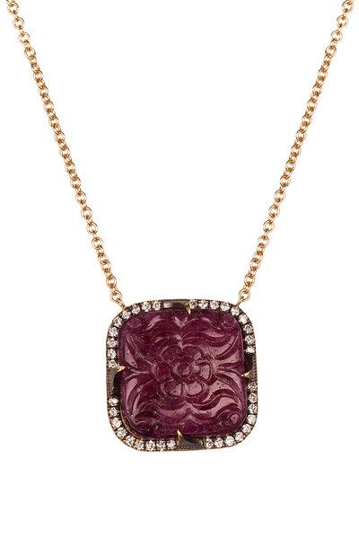 Sylva & Cie - 18K Yellow Gold Ruby & Diamond Pendant Necklace