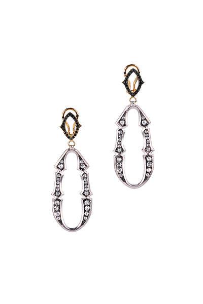 Sylva & Cie - 18K White Gold Black Diamond Drop Earrings