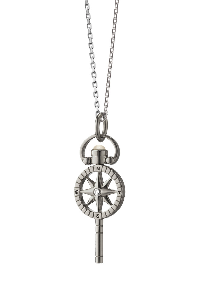 Silver Compass Pocketwatch Key Charm Necklace