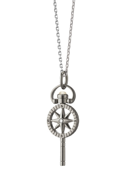 Monica Rich Kosann - Silver Compass Pocketwatch Key Charm Necklace