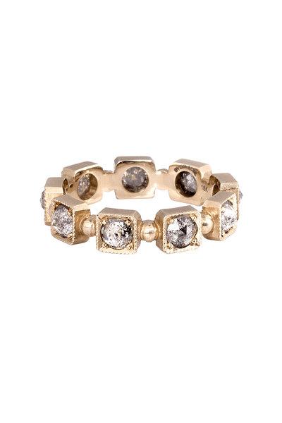 Sylva & Cie - 14K White Gold Rose Cut Diamond Band