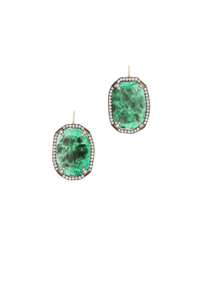Sylva & Cie - 18K Yellow Gold Emerald & Diamond Thorn Earrings