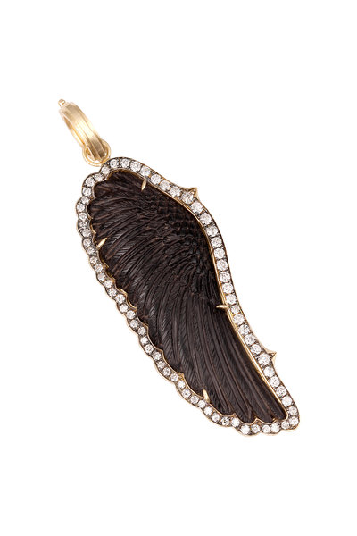 Sylva & Cie - Gold Hand-Carved Black Onyx Wing Diamond Pendant