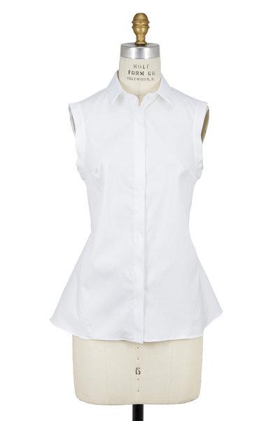 Brunello Cucinelli - White Cotton Peplum Back Sleeveless Blouse