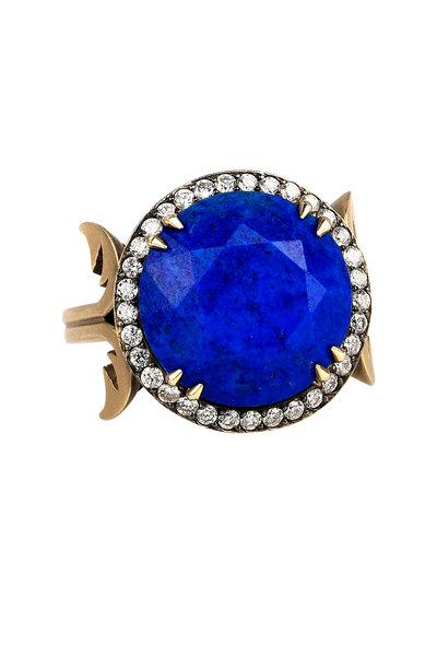 Sylva & Cie - 18K Gold Lapis & Diamond Feather Cocktail Ring