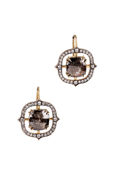 Sylva & Cie - 18K Yellow Gold & Platinum Diamond Earrings