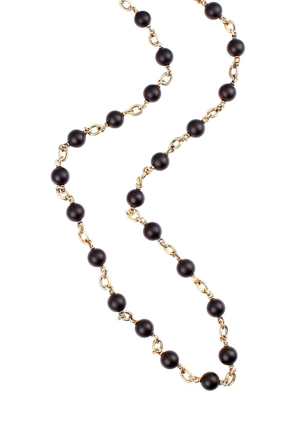 Sylva & Cie 18K Yellow Gold Onyx Bead Necklace