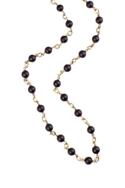 Sylva & Cie - 18K Yellow Gold Onyx Bead Necklace