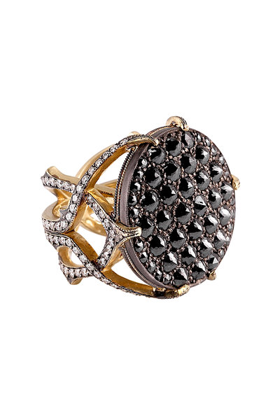 Sylva & Cie - 18K Gold & Silver Black & White Diamond Web Ring
