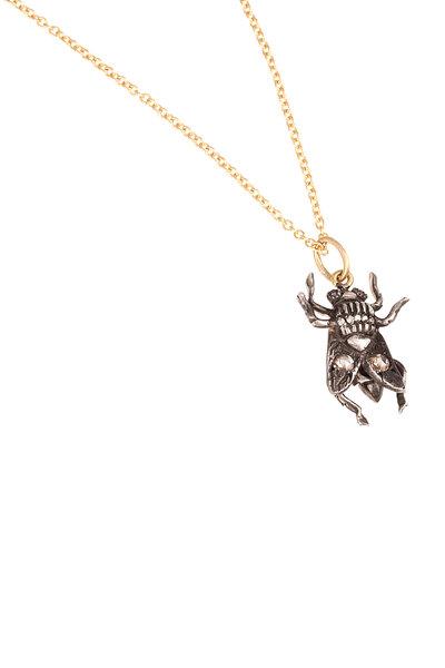 Sylva & Cie - 18K Gold & Silver Diamond Fly Pendant Necklace
