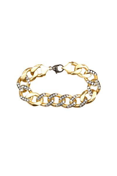 Sylva & Cie - Yellow Gold White Diamond Link Bracelet