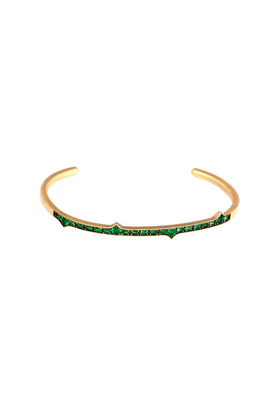 Sylva & Cie - Yellow Gold Emerald Thorn Cuff Bracelet