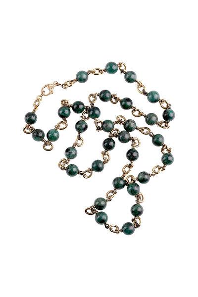 Sylva & Cie - Yellow Gold Emerald Bead Necklace