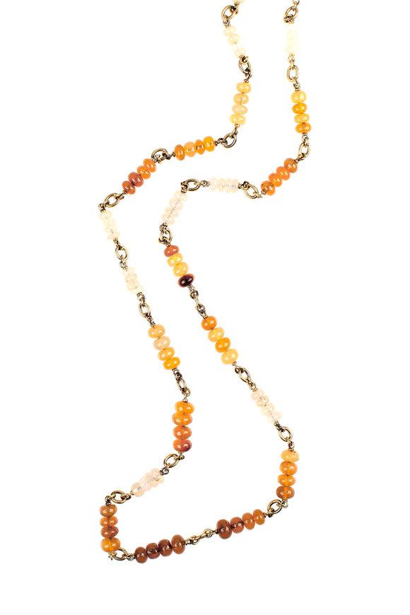 Sylva & Cie Yellow Gold Opal Wheel Necklace