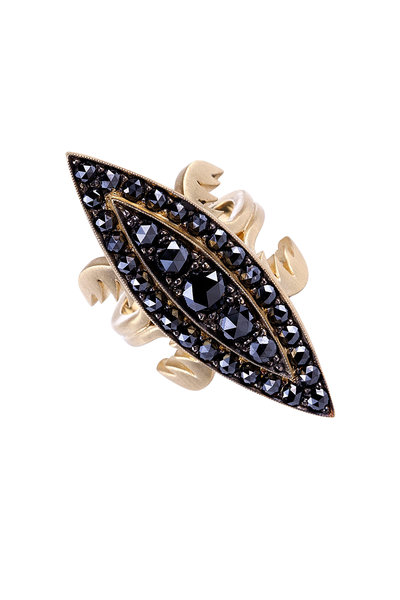 Sylva & Cie - 18K Yellow Gold Black Diamond Cocktail Ring