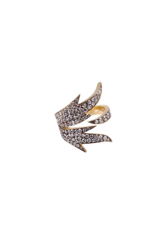 Sylva & Cie Gold White Diamond Flight Ring