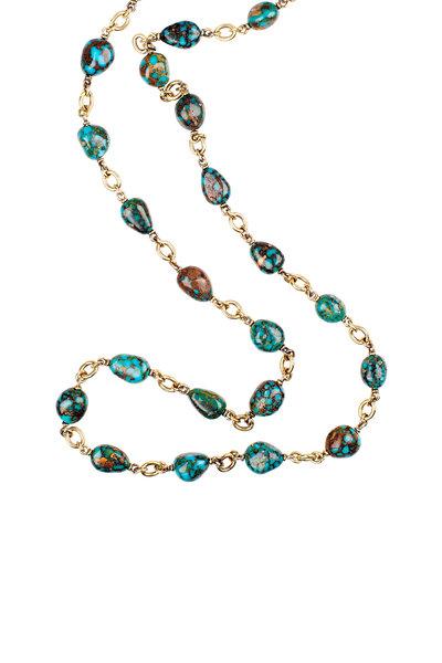 Sylva & Cie - 18K Yellow Gold Kingman Turquoise Necklace