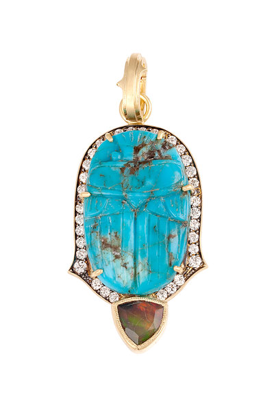 Sylva & Cie - 18K Yellow Gold Opal Scarab Diamond Pendant