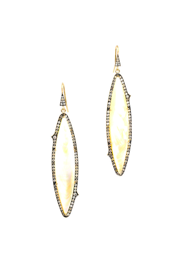 Sylva & Cie Gold Mother Of Pearl Champagne Diamond Earrings