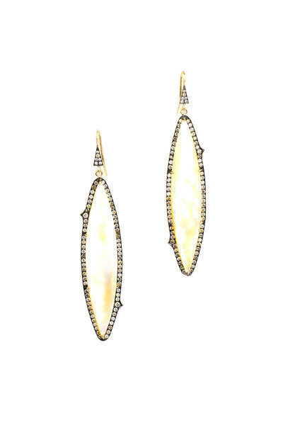 Sylva & Cie - Gold Mother Of Pearl Champagne Diamond Earrings