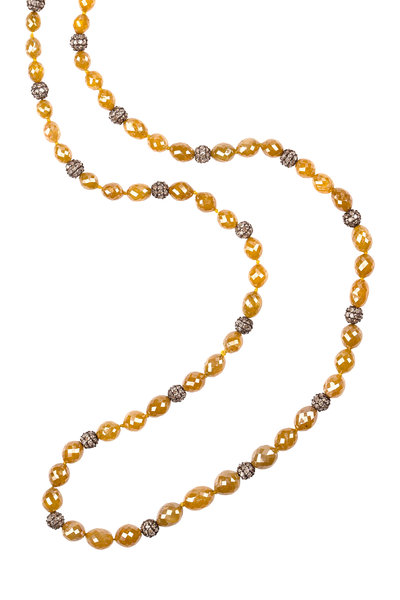 Sylva & Cie - Sterling Silver Diamond Bead Necklace