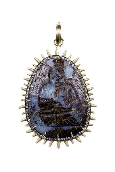 Sylva & Cie - 18K Gold Hand Carved Opal Buddha & Diamond Pendant