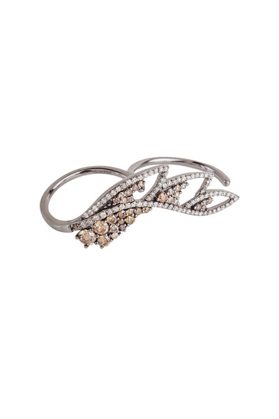 Bochic - White Gold Diamond Double Shank Feather Ring