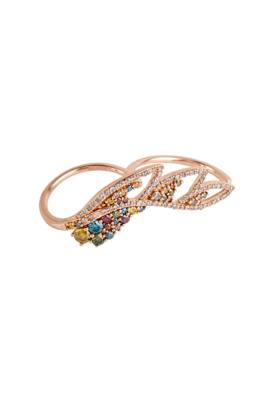 Bochic - Pink Gold Multi Diamond Double Shank Feather Ring