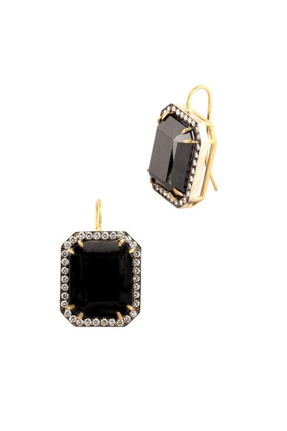 Sylva & Cie Gold & Silver Hematite Diamond Earrings